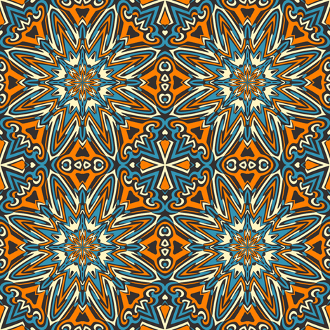 set 1 pattern 1 orange blue black tribal style fabric phenompixels spoonflower. Black Bedroom Furniture Sets. Home Design Ideas