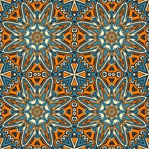 Set 1 Pattern 1 - Orange Blue Black Tribal Style