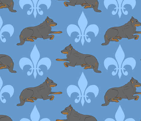 Noble Beaucerons large - blue fabric by rusticcorgi on Spoonflower - custom fabric
