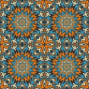 SET 1 PATTERN 2 - ORANGE BLUE BLACK TRIBAL STYLE