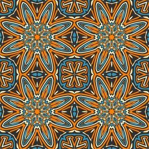 Set 1 Pattern 3 - Orange Blue Black Tribal Style