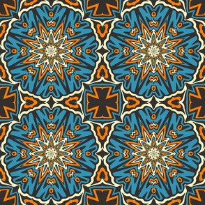 SET 1 PATTERN 4 - ORANGE BLUE BLACK TRIBAL STYLE
