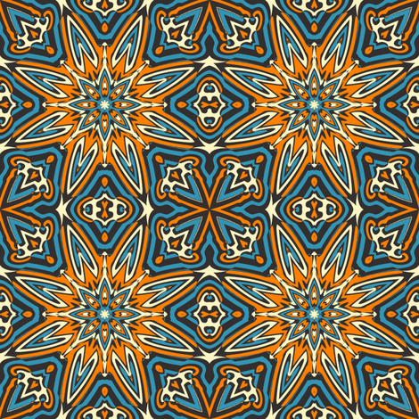 set 1 pattern 7 orange blue black tribal style fabric phenompixels spoonflower. Black Bedroom Furniture Sets. Home Design Ideas