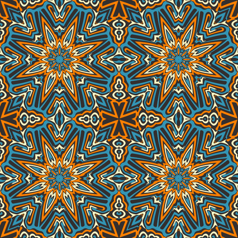 set 1 pattern 12 orange blue black tribal style fabric phenompixels spoonflower. Black Bedroom Furniture Sets. Home Design Ideas