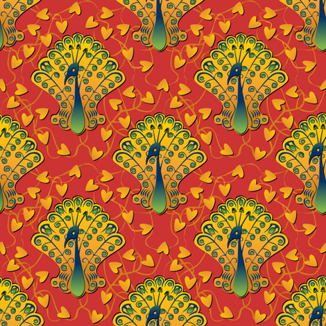 Gilded Peacock - Gypsy Fantasy fabric by glimmericks on Spoonflower - custom fabric
