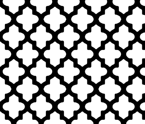 Moroccan Quatrefoil Modern Black & White fabric by fridabarlow on Spoonflower - custom fabric