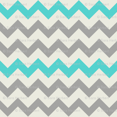 Aqua Grey Chevron