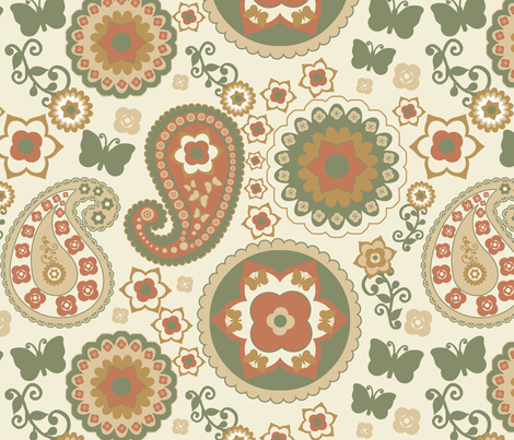Paisley Natural Earthtones fabric by stitchwerxdesigns on Spoonflower - custom fabric