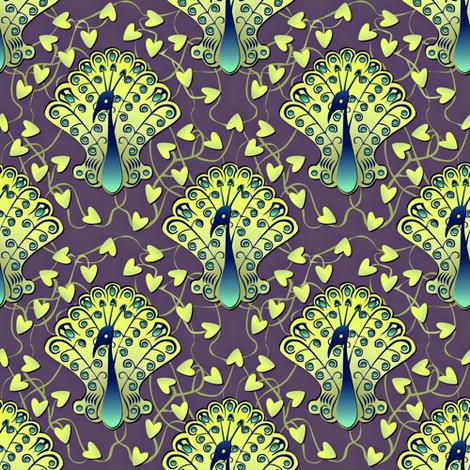 Gilded Peacock - Glowworm Green fabric by glimmericks on Spoonflower - custom fabric