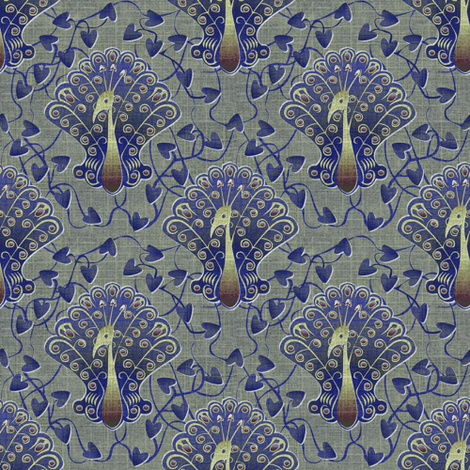 Gilded Peacock - Palace Strut fabric by glimmericks on Spoonflower - custom fabric
