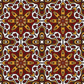 SET 2 PATTERN 5 - RED GOLD WHITE BLACK TRIBAL STYLE