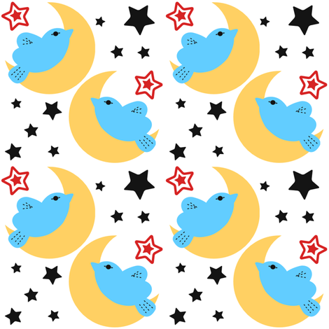Celestial Kawaii Cuteness With Blue Bird Over The Moon fabric by phenompixels on Spoonflower - custom fabric