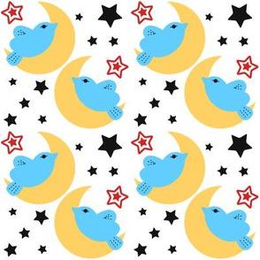 Celestial Kawaii Cuteness With Blue Bird Over The Moon