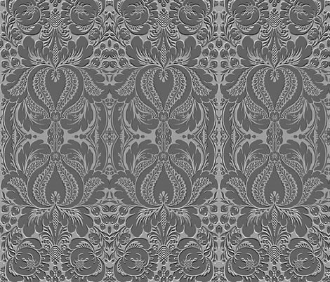 Mid Century Cocktail Dress 3D Damask. fabric by whimzwhirled on Spoonflower - custom fabric