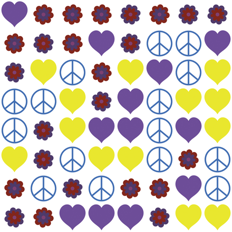Hippy Love and Peace 2 fabric by animotaxis on Spoonflower - custom fabric