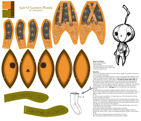 Jack-O-Lantern Plushie fabric by thecalvarium on Spoonflower - custom fabric