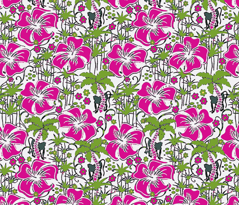Jungle Monkey pink fabric by flyingfish on Spoonflower - custom fabric