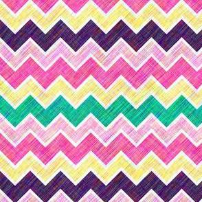 Chevron Multi-Colored Linen Look