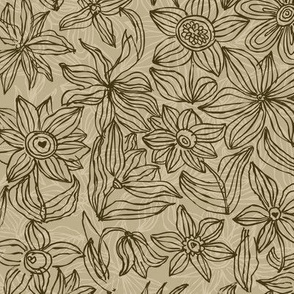 Hand drawn flower pattern