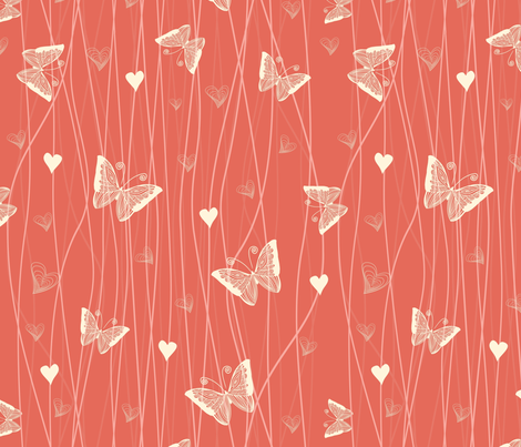 butterflies and hearts fabric by anastasiia-ku on Spoonflower - custom fabric