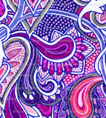 Purple Victorian Lace vertical stripe