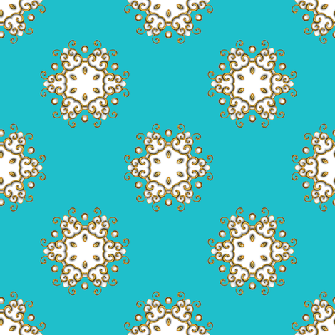 Medallion on Turquoise fabric by joanmclemore on Spoonflower - custom fabric