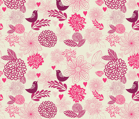 birds and flowers fabric by anastasiia-ku on Spoonflower - custom fabric