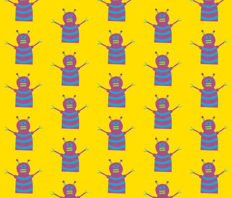 robots beep beep yellow fabric by weebeastiecreations on Spoonflower - custom fabric