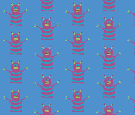 robots beep beep blue fabric by weebeastiecreations on Spoonflower - custom fabric