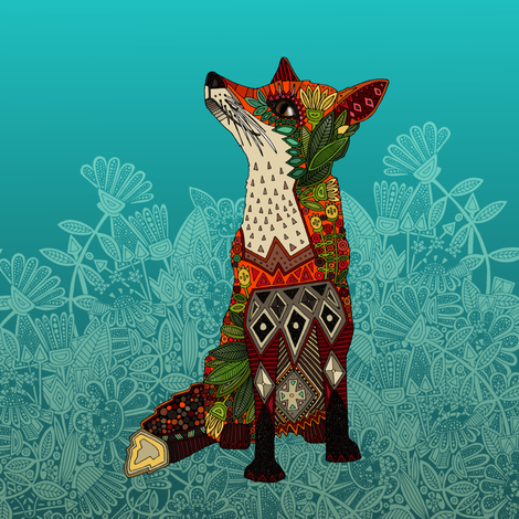 ice floral fox swatch fabric by scrummy on Spoonflower - custom fabric