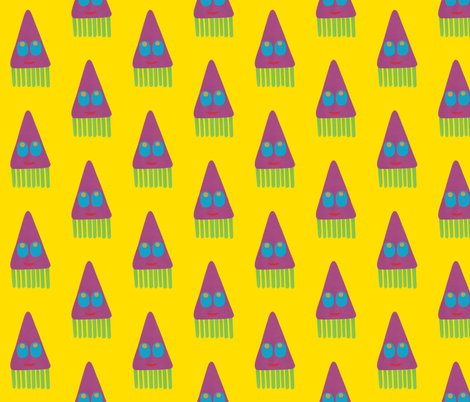 Tum tee tum squid yellow fabric by weebeastiecreations on Spoonflower - custom fabric