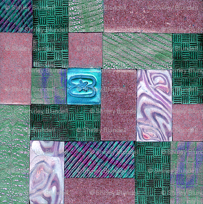 polymer clay  tile green and pink