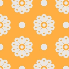 Polka Flowers- Yellow