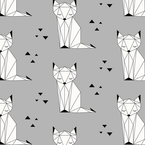 Sleepy Fox - Gray Background fabric by kimsa on Spoonflower - custom fabric