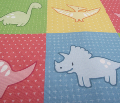 Dinosaurs cheater quilt red