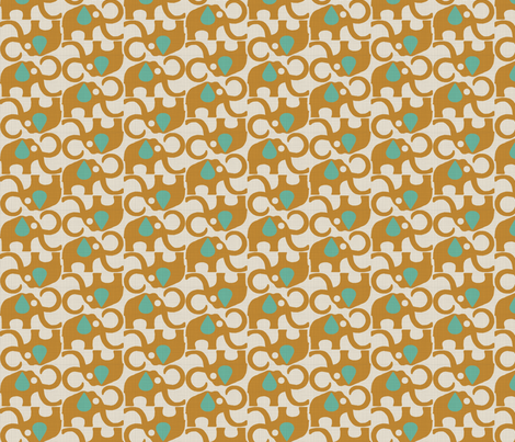 MAMMOTH_ORANGE_TEAL fabric by glorydaze on Spoonflower - custom fabric