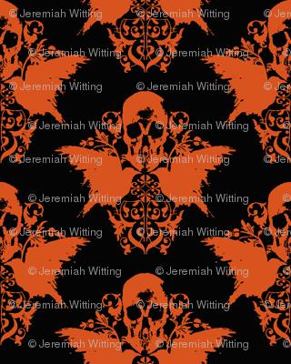 Skull and Raven Damask - Halloween orange