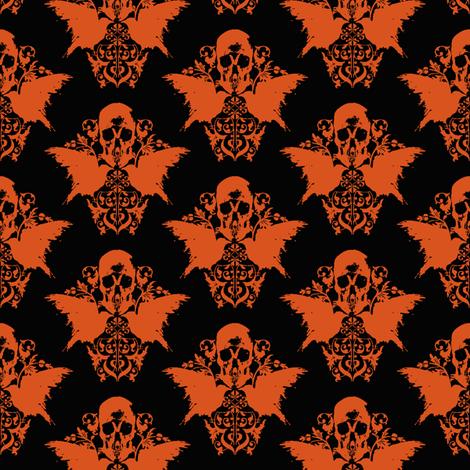 Skull and Raven Damask - Halloween orange fabric by thecalvarium on Spoonflower - custom fabric