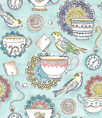 Afternoon Tea - Bird Watercolor Regular Scale