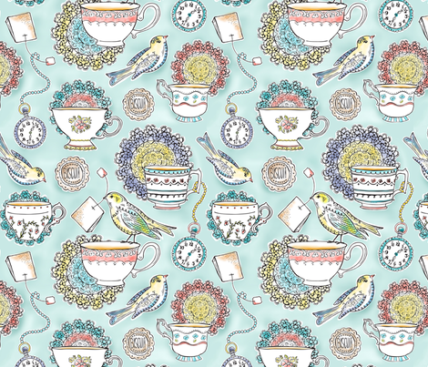 Afternoon Tea - Bird Watercolor Regular Scale  fabric by heatherdutton on Spoonflower - custom fabric