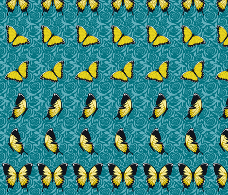Yellow Butterflies on Blue fabric by fig+fence on Spoonflower - custom fabric