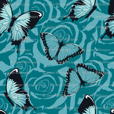Small Blue Butterflies on Blue