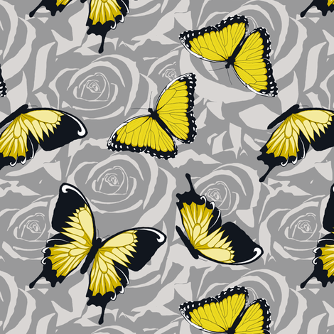 Small Yellow Butterflies on Gray fabric by fig+fence on Spoonflower - custom fabric