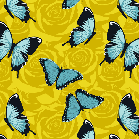 Small Blue Butterflies on Yellow fabric by fig+fence on Spoonflower - custom fabric