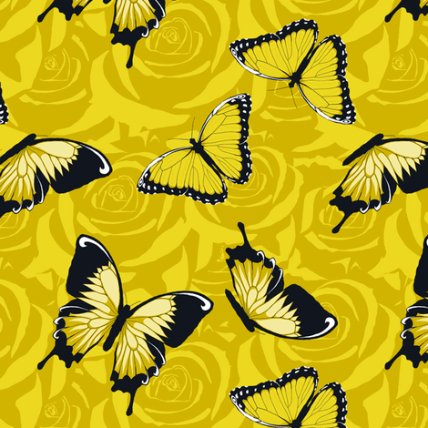 Small Yellow Butterflies on Yellow fabric by fig+fence on Spoonflower - custom fabric