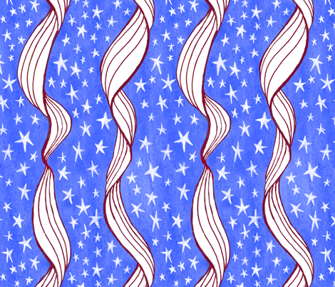 Ribbony Stripes, River of Stars fabric by gershamabob on Spoonflower - custom fabric