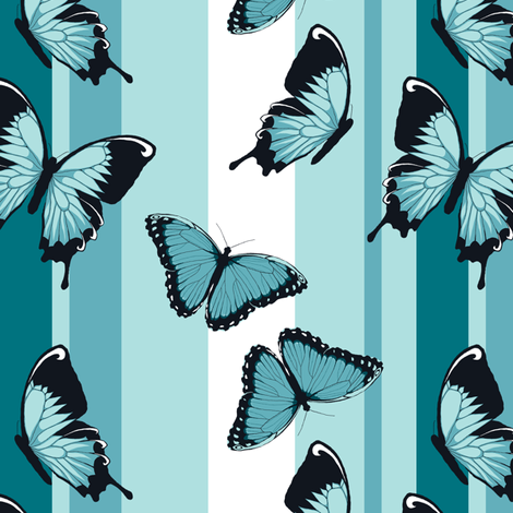 Blue Butterflies on Blue Stripes fabric by fig+fence on Spoonflower - custom fabric