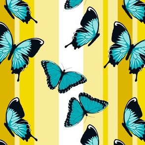Blue Butterflies on Yellow Stripes