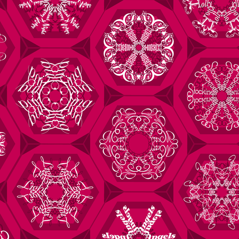 red snowflake mini-ornaments fabric by weavingmajor on Spoonflower - custom fabric