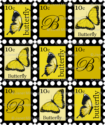 Large Yellow Butterfly Stamps